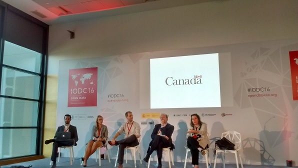 """""""North America Regional Panel: Ashley Casovan, Canada's Open Government Portal lead is second from left"""" -- IODC"""